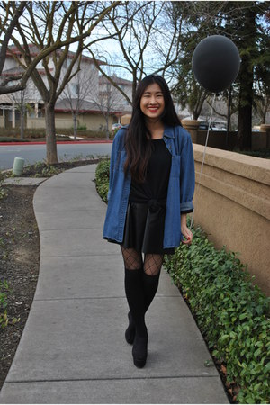 denim jacket thrifted jacket - black H&M sweater - TJ Maxx skirt