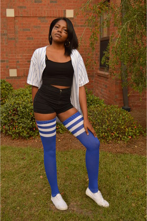 blue American Apparel shirt - blue thigh high American Apparel socks
