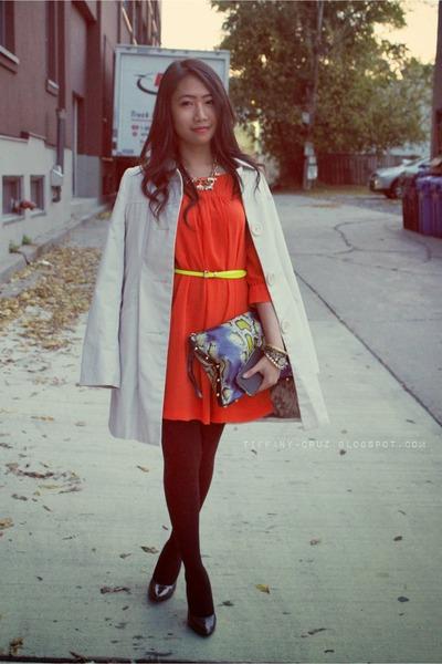 carrot orange H&M dress - black Target tights - snakeskin print H&M purse