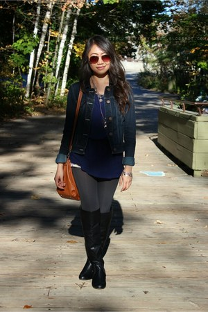 navy American Eagle jacket - black Aldo boots - gray Forever 21 tights
