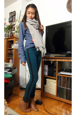teal jeggings American Eagle jeans - bronze Forever 21 boots