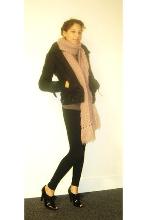 oxmo coat - H&M scarf - American Apparel tights - covet blouse - Mossimo shoes