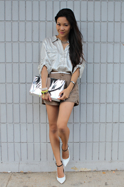 Bamboo Sky bag - Spiral girl shorts - calvin klein blouse - Aldo pumps