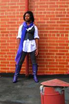 rainbow boots - Express scarf - thrift shirt