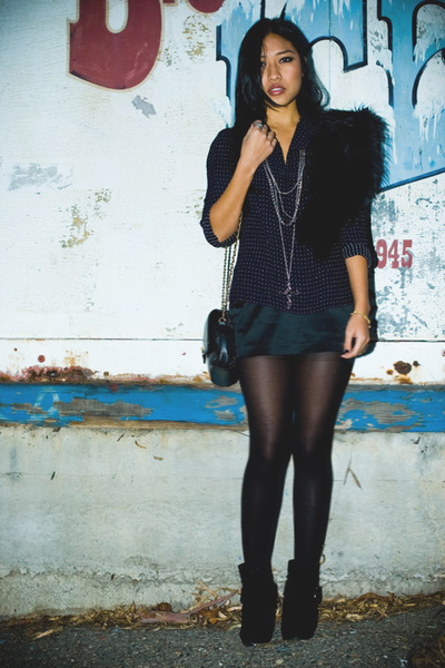 black f21 skirt - blue thrifted blouse - black Wetseal boots - silver various ne