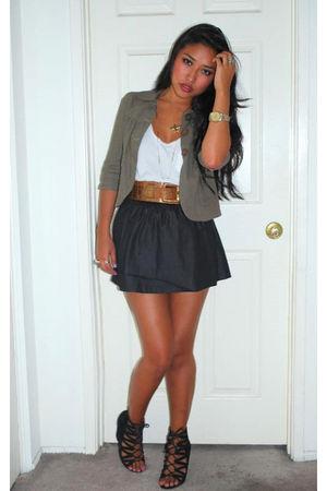 gray Walmart skirt - black Aldo shoes - green Flying Tomato jacket
