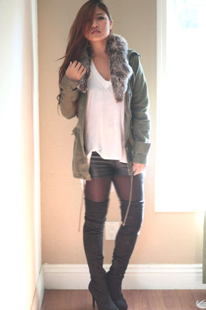 black Ami boots - black f21 shorts - brown H&M scarf - green elle jacket