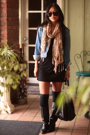 jacket - dress - boots - scarf - purse - sunglasses