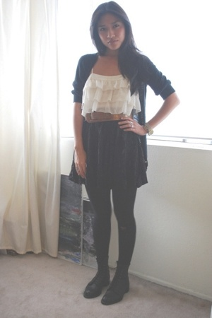 top - skirt - boots - belt