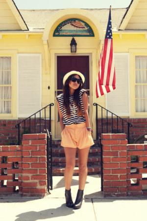 black H&M boots - eggshell f21 hat - navy thrifted shirt - light orange H&M shor
