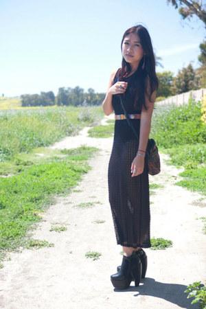 thrifted dress - thrifted belt - American Apparel bodysuit