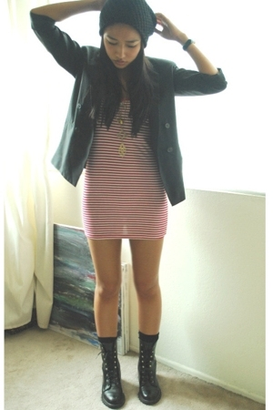 dress - blazer - hat - boots
