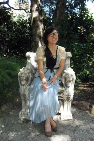light blue thrifted skirt - white thrifted cardigan