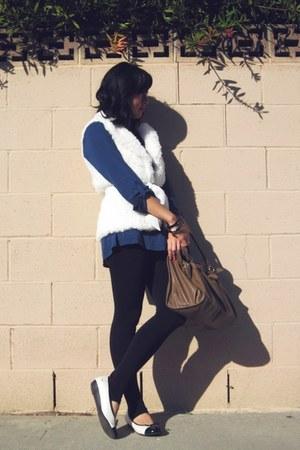 nylonspandex Forever 21 leggings - gifted shirt - structured H&M bag - papaya be