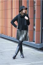 black kazar boots - black Promod hat - black Ikks scarf - silver Promod skirt