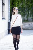 black vagabond shoes - black Calzedonia tights - black Tally Weijl skirt