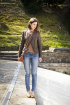 dark brown Zara jacket - blue Mango jeans - burnt orange reserved top