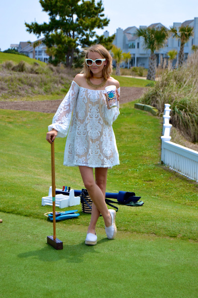 lace For Love & Lemons dress - Prada sunglasses - shoemint flats