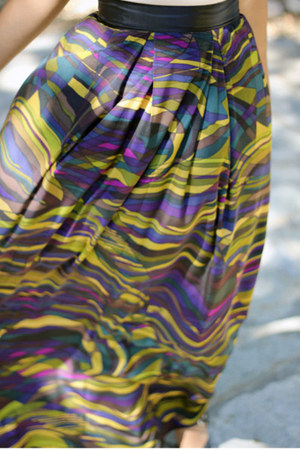 green silk maxi skirt self-made DIY skirt - white cami Forever 21 shirt