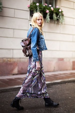 blue denim jacket - maxi skirt