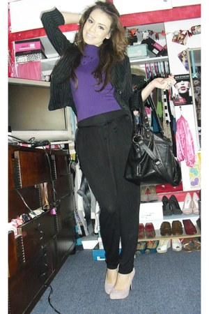 light pink Bakers heels - black Forever 21 pants - purple Forever 21 blouse