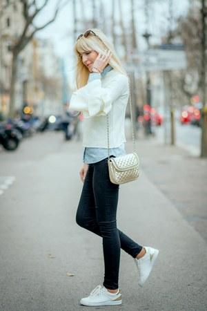 white ruffles shein sweater - light blue denim shirt Primark shirt
