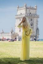 light yellow maxi dress Mango dress - light yellow backpack Parfois bag