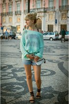 sky blue denim shorts Terranova shorts - aquamarine oversized c&a sweater