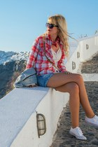red tartan Mango shirt - red Primark scarf - blue denim Terranova shorts