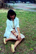 white blazer - pink skirt - blue belt - beige t-shirt - beige shoes