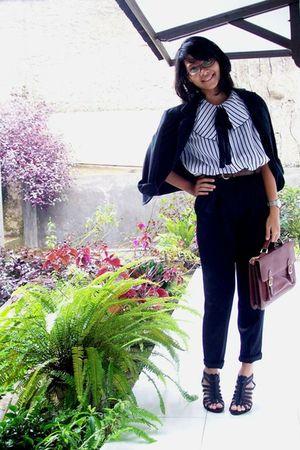 shirt - black pants - brown belt - black blazer - black shoes - brown purse