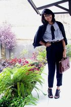 shirt - black pants - brown belt - black blazer - black shoes - brown purse