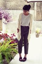 beige t-shirt - beige cardigan - brown pants - brown shoes