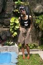 Black-top-brown-shorts-brown-shoes-brown-necklace-pink-scarf-sunglasse