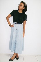 black t-shirt - skirt - blue belt - black shoes - accessories