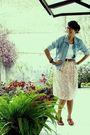 Blue-jacket-white-top-skirt-brown-shoes-brown-belt