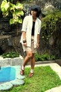 White-lace-blazer-dark-khaki-shorts-black-top-brown-flats