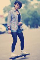 black top - bubble gum flea market shirt - black tights - navy shorts