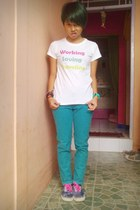 white DIY t-shirt - turquoise blue stripes flea market pants
