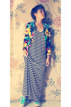 yellow abstrack DIY cardigan - black stripes unbranded dress