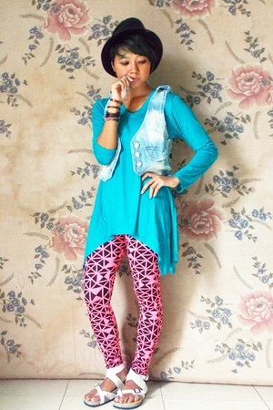 black fedora hat - bubble gum unbranded leggings - sky blue asymethric Tea top
