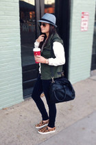 military Urban Outfitters vest - fedora Target hat - white H&M sweater