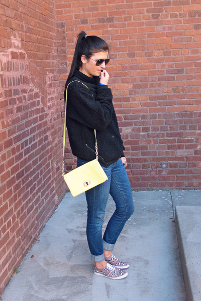 pullover black Urban Outfitters sweater - skinny jeans bullhead black jeans