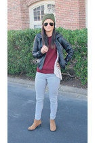 ankle boots PacSun boots - camo Urban Outfitters hat - leather Forever 21 jacket