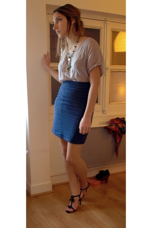 silver AMERICAN VINTAGE top - blue H&M skirt - black christian dior shoes