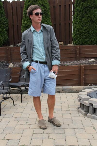 light brown Crocs shoes - heather gray Lucky Brand blazer