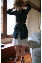 Gap dress - Club Monaco skirt - my dads belt - Nine West shoes