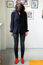 vintage boots - H&M jeans - vintage blouse
