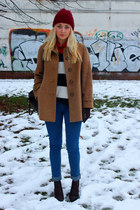 vintage coat - ankle boots Ebay shoes - beanie H&M hat - asos bag