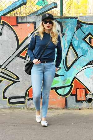 new era hat - Zara jeans - asos sweatshirt